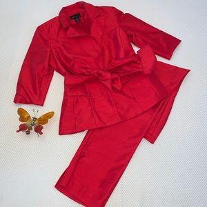 Moda International Red Jacket Pant Suit Set NWOT 6